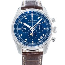 Zenith El Primero 410 pre-owned 42mm Blue Moon phase Date Weekday Month Leather