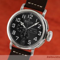 Zenith Steel Automatic Black 48mm pre-owned Pilot Type 20 Annual Calendar