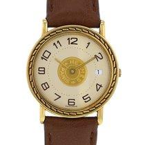 에르메스 옐로우골드 쿼츠 샴페인색 아라비아 숫자 32mm 중고시계 셀리에