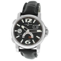 Ulysse Nardin Dual Time pre-owned 49mm Black Date GMT Leather