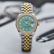 Rolex Datejust pre-owned 28mm Green Panorama date Gold/Steel