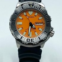 Seiko Monster Steel 42mm Orange No numerals
