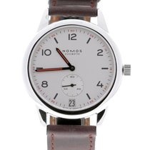 NOMOS Club pre-owned 38.5mm White Date Leather