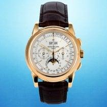 Patek Philippe Yellow gold Manual winding Silver 40mm pre-owned Perpetual Calendar Chronograph