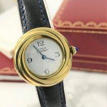 Cartier Gelbgold Quarz Weiß Arabisch 25mm gebraucht Trinity