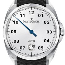Meistersinger Metris Steel 38mm Silver Arabic numerals