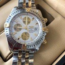 Breitling Chronomat Evolution begagnad 43.7mm Vit Dubbelkronograf Datum Guld/Stål