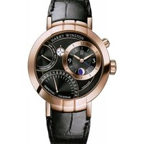 Harry Winston Rose gold Automatic Black No numerals 41mm new Premier