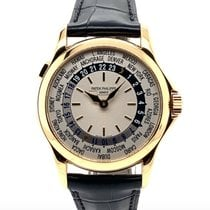 Patek Philippe World Time pre-owned 37mm Silver GMT Crocodile skin