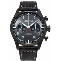 Alpina Startimer Pilot Automatic Steel 44mm Black Arabic numerals