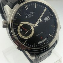 Glashütte Original Senator Diary pre-owned 42mm Black Date Alarm Crocodile skin