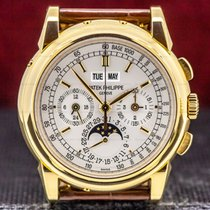 Patek Philippe Yellow gold Manual winding Silver Arabic numerals 40mm pre-owned Perpetual Calendar Chronograph
