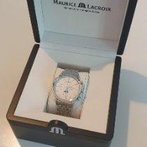 Maurice Lacroix Les Classiques Chronographe gebraucht 41mm Silber Mondphase Chronograph Datum Monatsanzeige Stahl
