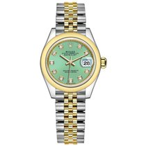Rolex Lady-Datejust Acero y oro 28mm Verde Sin cifras