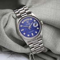Rolex Day-Date 36 Or blanc 36mm Bleu