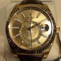 Rolex Желтое золото Автоподзавод Цвета шампань Без цифр 42mm новые Sky-Dweller