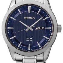 Seiko Solar Stal 43mm Niebieski