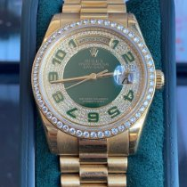 Rolex Day-Date 36 Or jaune 36mm Vert Sans chiffres France, nice