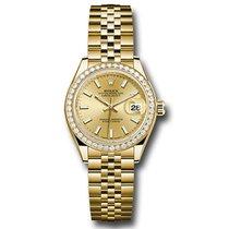Rolex Lady-Datejust Oro amarillo 28mm Champán Sin cifras