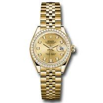 Rolex Lady-Datejust Gelbgold 28mm Champagnerfarben Keine Ziffern