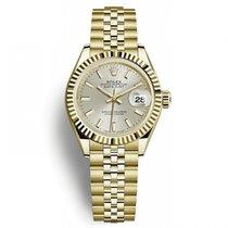 Rolex Lady-Datejust Gelbgold 28mm Silber Keine Ziffern