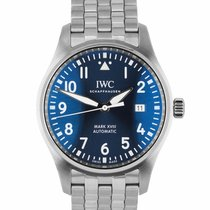 IWC Pilot Mark pre-owned 40mm Blue Date Steel