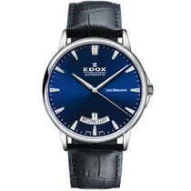 Edox Les Bémonts Acero 42mm Azul Sin cifras
