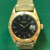 Rolex Yellow gold Automatic Black No numerals 36mm pre-owned Datejust Turn-O-Graph