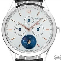 Montblanc Heritage Chronométrie pre-owned 40mm Silver Moon phase Date Weekday Month Leather
