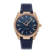 Omega Rose gold Automatic Blue No numerals 41mm pre-owned Seamaster Aqua Terra