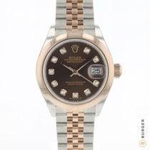Rolex Lady-Datejust Ouro/Aço 28mm Castanho
