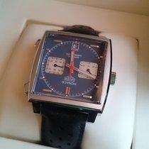 TAG Heuer Monaco Calibre 11 Staal 39mm Blauw Geen cijfers