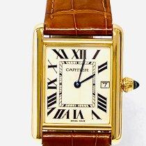 Cartier Yellow gold Quartz Champagne Roman numerals 25,5mm pre-owned Tank Louis Cartier