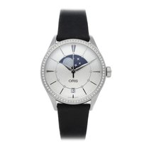 Oris Artelier Date pre-owned 36mm Silver Moon phase Date Leather