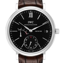 IWC Portofino Hand-Wound pre-owned 45mm Black Date Leather