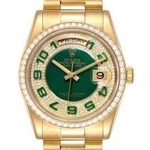 Rolex Day-Date 36 Oro amarillo 36mm Verde Arábigos