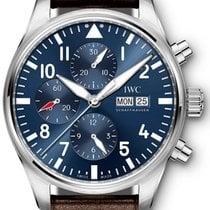 IWC Pilot Chronograph Сталь 43mm Синий Aрабские