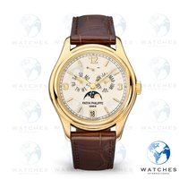 Patek Philippe Annual Calendar pre-owned 39mm White Moon phase Date Weekday Month Annual calendar Fold clasp