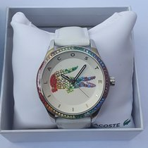 Lacoste Steel 40mm Quartz 2000822 Victoria Rainbow leather Strap Stone Womens Watch new