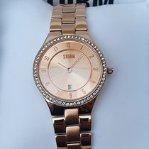 Strom Stål 30mm Kvarts 47189 STORM Slim X  Gold 5AT swarowski Crystal watch ladies ny