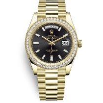 Rolex Day-Date 40 Gult guld 40mm Sort