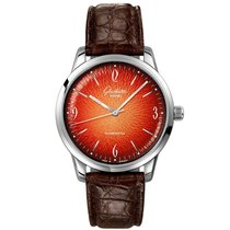 Glashütte Original Sixties gebraucht 39mm Orange Krokodilleder