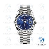 Rolex Day-Date 40 Oro blanco 40mm Azul Romanos