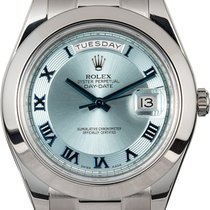 Rolex Day-Date II Platina 41mm Plav-modar Rimski brojevi