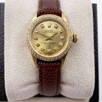 Rolex Yellow gold Automatic Champagne 24mm pre-owned Oyster Perpetual