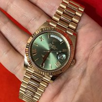 Rolex Day-Date 40 occasion 40mm Vert Date Or rose