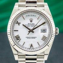 Rolex Oro blanco Automático Blanco Romanos 40mm usados Day-Date 40