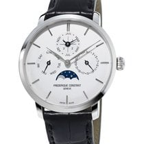 Frederique Constant Steel Automatic Silver 42mm new Manufacture Slimline Perpetual Calendar