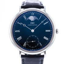 IWC Portofino Hand-Wound pre-owned 46mm Black Moon phase Leather