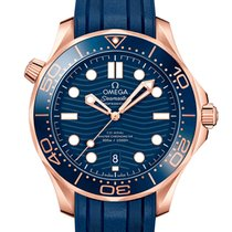 Omega Rose gold Automatic Blue No numerals 42mm new Seamaster Diver 300 M